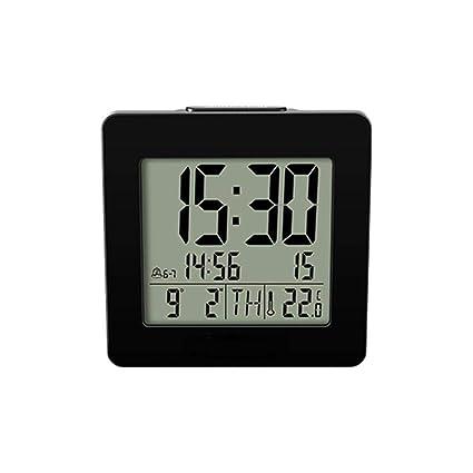 V.JUST Inicio Interior Digital Retroiluminado LCD Termómetro Escritorio Reloj Alarma Negro Digital Azul Luz