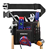 WORKPRO Heavy Duty Tool Pouch with Adjustable Belt, Multiple Pockets, Tape Measure Clip and Hammer hook, for Woodworking...