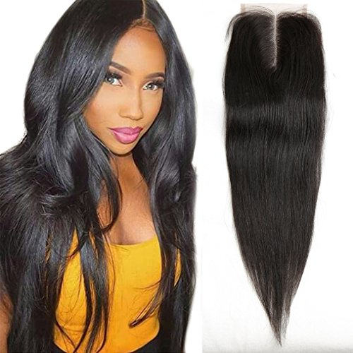 10 Inch Middle Part Lace Closure Straight 4X4 130% Density Top 8A Grade Unprocessed Brazilian Virgin Remy Human Hair Lace Front Closure No Bleached Knots Closure Pieces … Closure Pieces