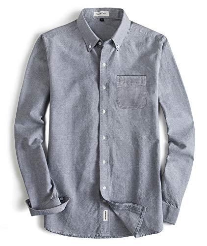 (MUSE FATH Men's Oxford Dress Shirt-Cotton Casual Long Sleeve Shirt-Button Down Point Collar Shirt-Light Grey with Pocket-M)