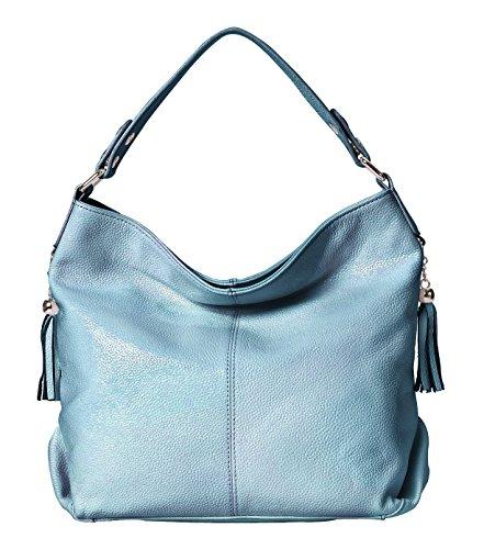 BIG SALE-AINIMOER Womens Leather Vintage Shoulder Bag Ladies Handbags Large Tote Top-handle Purse Cross Body Bags (Gray - Leather Shoulder Handbag One
