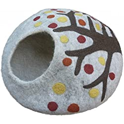 Best Cat Cave Bed, Unique Handmade Natural Felted Merino Wool, Large Covered and Cozy, Also Perfect for Kittens, Includes Bonus Catnip, Original Cat Caves, By Earthtone Solutions (Enchanted Forest)