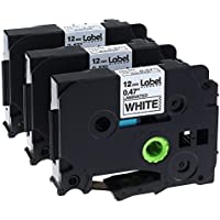 3 Pack Replace P Touch Label Tape Compatible Brother P-touch Label Maker (TZ231 TZe231) Black on White, 0.47 (12mm) x 8m (26.2ft)