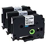 3 Pack Replace P Touch Label Tape Compatible Brother P-Touch Label Maker (TZ231 TZe231) Black on White, 0.47'' (12mm) x 8m (26.2ft)