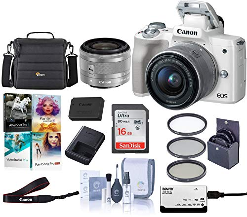 Canon EOS M50 Mirrorless Camera with EF-M 15-45mm f/3 5-6 3 is STM Lens,  White - Bundle with 16GB SDHC Card, Camera Case, 49mm Filter Kit, Cleaning