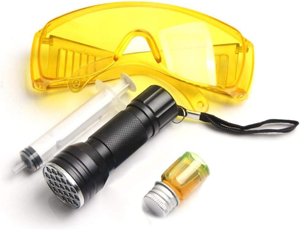 Herramienta de reparación de aire acondicionado automotriz Aire acondicionado para automóviles Sistema A C Detector de prueba de fugas Kit 21 LED Linterna UV Gafas protectoras Juego de herramientas
