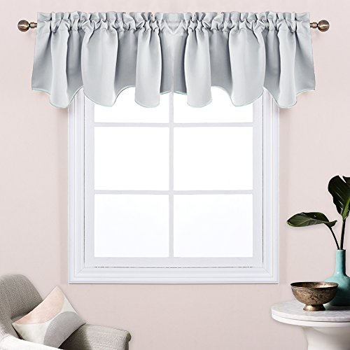 Greyish White Window Scalloped Valances - Pony Dance Thermal Insulated Blackout Window Treatments Valance Home Decorative Scalloped Curtain Valance for Kitchen,52 inch wide by 18 inch long,2 Pieces