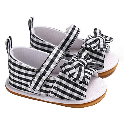 Endand Cute Kids Toddler Baby Girls Sandals Bowknot Hollow Sandals Princess Shoes Summer 0-18M,Black,7-12 Months