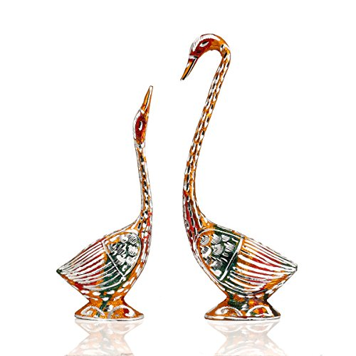 CraftVatika Swan Love Birds Couple Statue Set | Swan Metal Bird Pair (Male - Female) | Romantic Feng Shui Idol Wedding Gifts & Home Decor New Year Gifts, Gift for Mom Mother