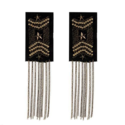 2PCS Shoulder Epaulette Badge Tassel Chain Beads Star Pattern Shoulder Boards Badge Uniform Accessories ()