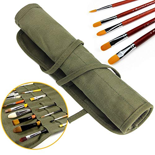 Paint Brush Holder, JTDEAL 22 Slots Paint Brush Storage for Acrylic Oil Watercolor Gouache Artist Paint Brush Roll Canvas Pouch, Army Green