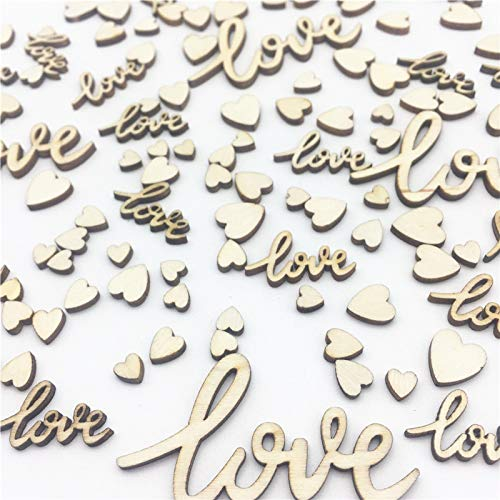 6mm-55mm Cursive Love and Hearts Mix Wedding Table Decorations Wooden Table Confetti Embellishments Cardmaking Scrapbooking Pack of 200 ()
