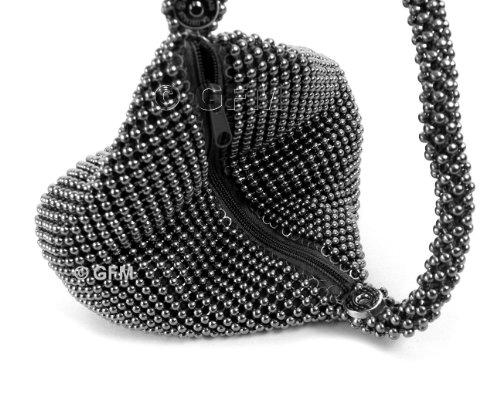 Soft Shaped Evening Gfm Metallic Pouch 00 Purse mkek Bag Clutch Brown Wrist Wristlet Little Beaded Body 5qAwRUg