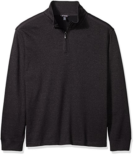 Van Heusen Men's Tall Long Sleeve Spectator Solid 1/4 Zip Shirt, Black, 3X-Large Big (Vans Neck Face)