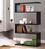 Coaster Casual Black Asymmetrical Snaking Bookcase