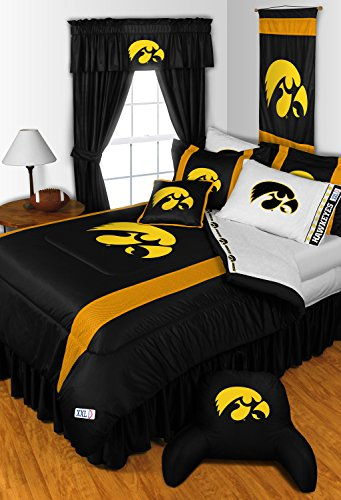 Iowa Hawkeyes KING Size 14 Pc Bedding Set (Comforter, Sheet Set, 2 Pillow Cases, 2 Shams, Bedskirt, Valance/Drape Set & Matching Wall Hanging) - SAVE BIG ON BUNDLING! by Sports Coverage