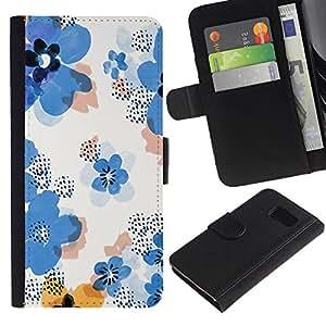 iKiki Tech / Cartera Funda Carcasa - Flower Pattern White Clean Floral - Samsung Galaxy S6 SM-G920