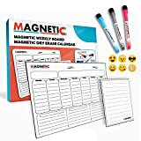 "dry erase how to draw - MAGNETIC Dry Erase Weekly Calendar/Weekly White Board Calendar Set/Magnetic Weekly Planner For Refrigerator 16""x12"" (40.6 x 30.5 cm) Whiteboard Organizer : 8.5''x6'' Note Board, Emojis, Markers"