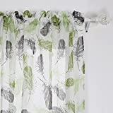 Deconovo Fashionable Print Pattern Faux Linen Rod Pocket Curtain Panels Feather Living Room Set Modern Curtains Window Sheer Curtains for Kitchen 42 x 84 Inch Green and Brown 2 Panels For Sale