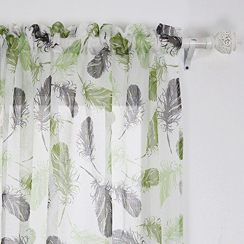 Deconovo Fashionable Print Pattern Faux Linen Rod Pocket Curtain Panels Feather Living Room Set Modern Curtains Window Sheer Curtains for Kitchen 42 x 84 Inch Green and Brown 2 Panels