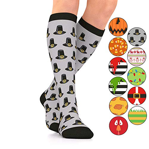Go2Socks GO2 Holiday Compression Socks Women Men Nurses Runners 15-20 mmHg(Medium) Medical Stocking Maternity Travel-Best Performance Recovery Circulation Stamina (Pilgrim,Small)