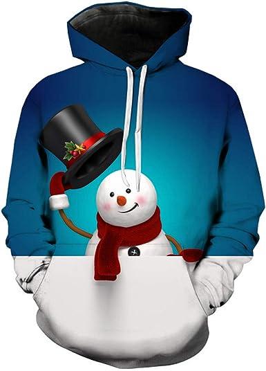 INTERESTPRINT Mens Casual Long Sleeve Hoodies Christmas with Snowman