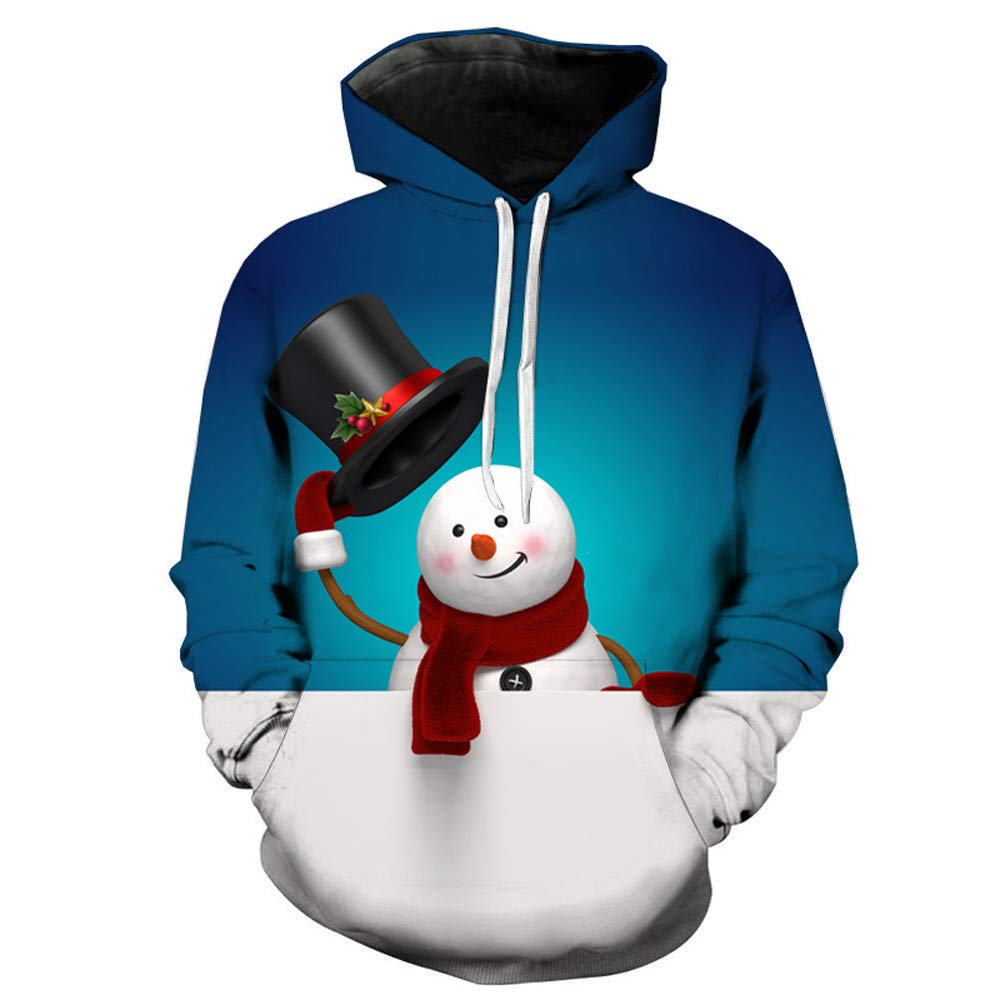 Mens Sweatershirt Sale,deatu Clearance Christmas Santa/Tree/Elk/Snowman Printing Long Sleeve Pullover Hoodie Tops(Blue 2,L)