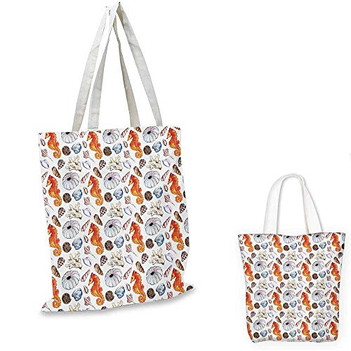 Animal shopping bag Bunch of Deep Sea Elements with Screw Shell Crabs Urchin Oyster Coral Ammonit Print foldable shopping bag Multicolor. 13