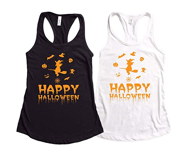 21dfd49a6098f Amazon.com  Happy Halloween Tank Top-Funny Halloween Witch Tank Top ...