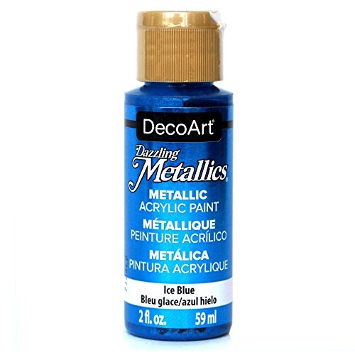 DecoArt Dazzling Metallics 2-Ounce Ice Blue Acrylic - Metallic Paint Blue