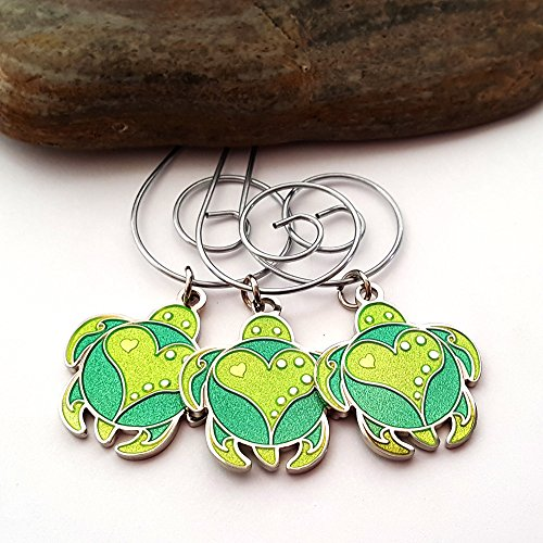 Sea Turtle Christmas Ornament - Reversible Enamel Hanging Charm - Set of 3 - Multiple Color Choices (Double Green)