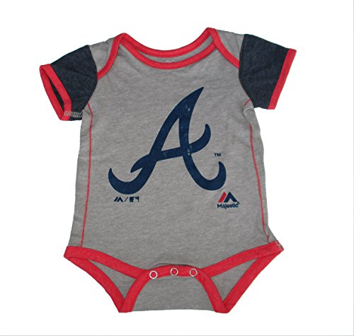 Atlanta Braves Distressed Logo Infant Onesie Size 6-9 Months Bodysuit Creeper Gray Cotton Distressed Onesie