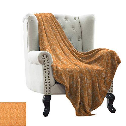 Children's Blanket Harvest,Pattern with Pumpkin Leaves and Swirls on Orange Backdrop Halloween Inspired, Orange White Super Soft Light Weight Cozy Warm Plush Hypoallergenic 60