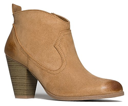 western-slip-on-stacked-heel-bootie-distressed-ankle-pull-cowboy-womens-boot-toffee-oil-finish-6-bm-