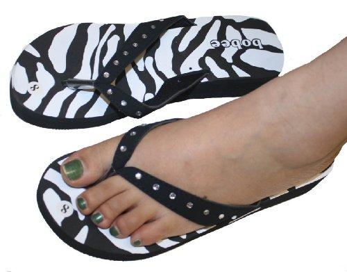 Kvinners Sandal Flate Stranden Flip Flops Zebra Med Rhinestone Stropp Stil Thongs Flats Pamela-23 Sort