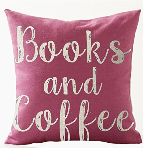 Books and Coffee Throw Pillow Cover