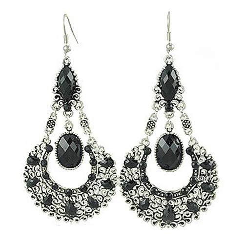 frigidssm Ethnic Vintage Women Rhinestone Dangle Hook Basket Shape Chandelier Statement Earrings Jewelry Black