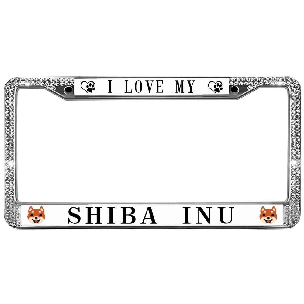 3f4c18dadfe Amazon.com  GND I Love My Shiba Inu License Plate Frame Bling Custom ...