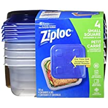 Ziploc Brand Container Coloured Red Lid, Small Square, 4 Count