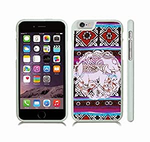 iStar Cases? iPhone 6 Plus Case with Indian Elephant Pattern on a Colorful Rug Pattern Background , Snap-on Cover, Hard Carrying Case (White)