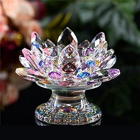 GSCH Porte-Bougie en Cristal de Lotus bougeoir Candelabre Porte-Phare Tealight Crafts Décor de Mariage à la Maison (3.6''*4.4'', Violet) AM035