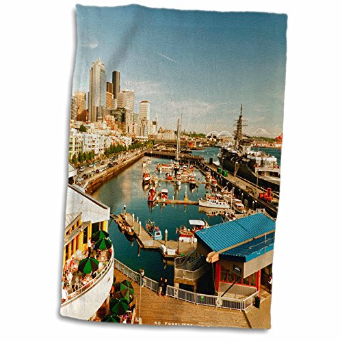 3dRose Danita Delimont - Seattle - USA, Washington, Seattle, Bell Street Pier - US48 RDU0473 - Richard Duval - 12x18 Hand Towel (twl_148496_1)