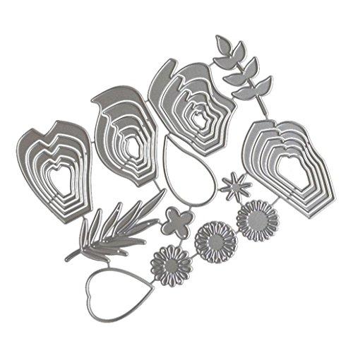 Embossing Silver Pebbles - Flower Die Cut,iHPH7 Hearts Metal Cutting Dies Stencils DIY Scrapbooking Album Paper Card Making 660