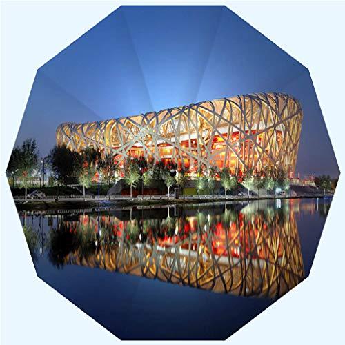 (Fashion Travel Umbrella Sun Umbrella UV protection automatic opening and closing, Beijing National Olympic Stadium Birds Nest XLarge, windproof - rainproof - men - ladies - versatile - 42 inches)
