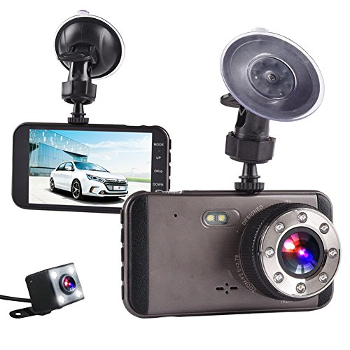 Small Twin Loop - Dash Cam, HD 1080P camera with super night vision,170 degrees in the front and 140 degrees in the rear, 4 inches IPS screen, forward and backward twin channel recorder, G-Sensor, WDR, loop recording
