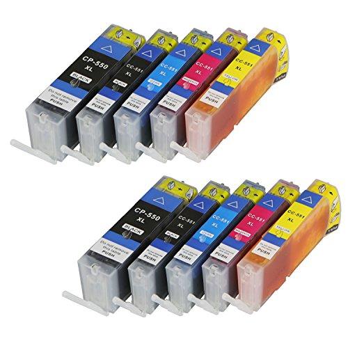 10 Druckerpatronen für Canon PGI550XL CLI551XL MIT CHIP und Füllstandanzeige für Canon Pixma iP7200, iP7250, MG5400, MG5500, MG5550, MG5600, MG5650, MG5655 kompatibel zu PGI550BK, CLI551BK, CLI551C, CLI551M, CLI551Y
