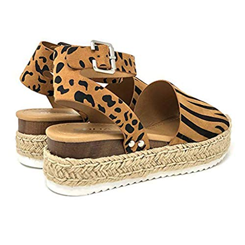 GJK-SION New Womens Casual Espadrilles - Rubber Sole Flatform Studded Wedge Leopard Print Roma Buckle Ankle Strap Peep Toe Sandal (Brown, 37)