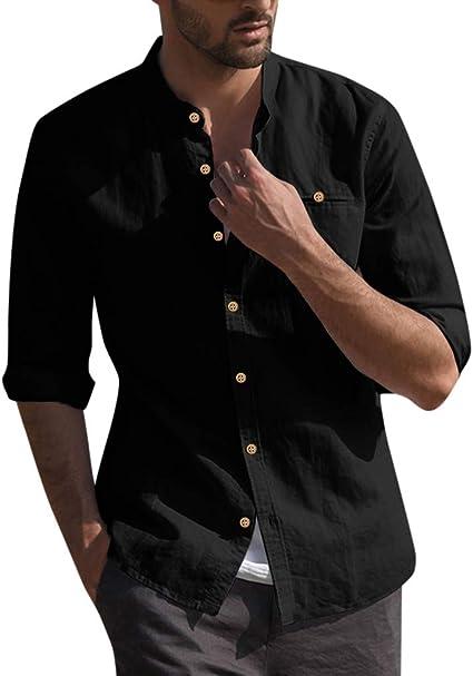 Katsaz Camisa Holgada de Lino y algodón para Hombre, con Tres Botones y Bolsillos, Estilo Retro: Amazon.es: Ropa y accesorios