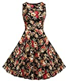 Vintage 1950's Floral Spring Garden Party Picnic Dress Party Cocktail Dress (XL, Dark Apricot Floral)