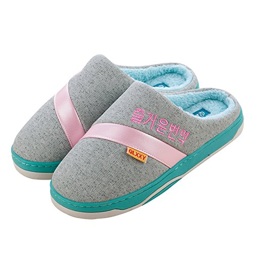 Hevinle Warm House Washable Indoor Slippers for Women Blue